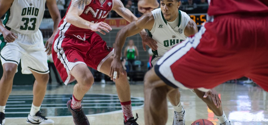 Ohio University redshirt sophomore guard Jaaron Simmons (#2) drives to the net against the Northern Illinois defense at the Convocation Center in Athens, Ohio on Saturday. The Bobcats defeated the Huskies, 80-69, and Simmons recorded his fifth double-double of the season. (Nicole Raucheisen/WOUB)