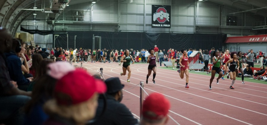 Members of the Ohio track and field team compete at the Buckeye Tune-Up indoor meet in Columbus on Friday, Feb. 19, 2016. The Bobcats walked away with seven podium finishes, including one first place by junior cross country runner Alex Wind in the Mens' 3000 Meter Run. (Mark Clavin/WOUB)