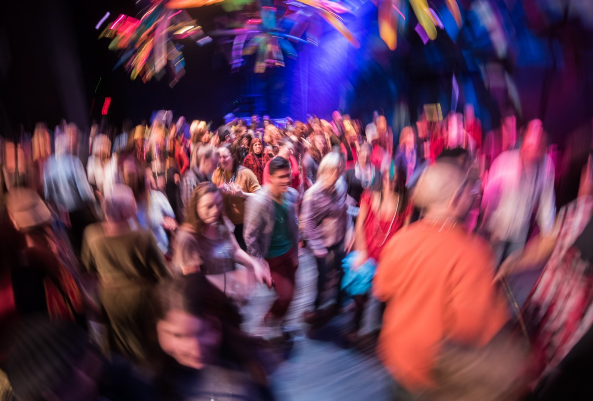 Ohio University holds a Mardi Gras Dance Party for students and Athens residents. The dance party was held in Templeton-Blackburn Alumni Memorial Auditorium (commonly referred to as Memorial Auditorium, or simply MemAud) on February 13, 2016. (MICHAEL SWENSEN FOR WOUB)