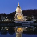 The West Virginia State Capitol at night