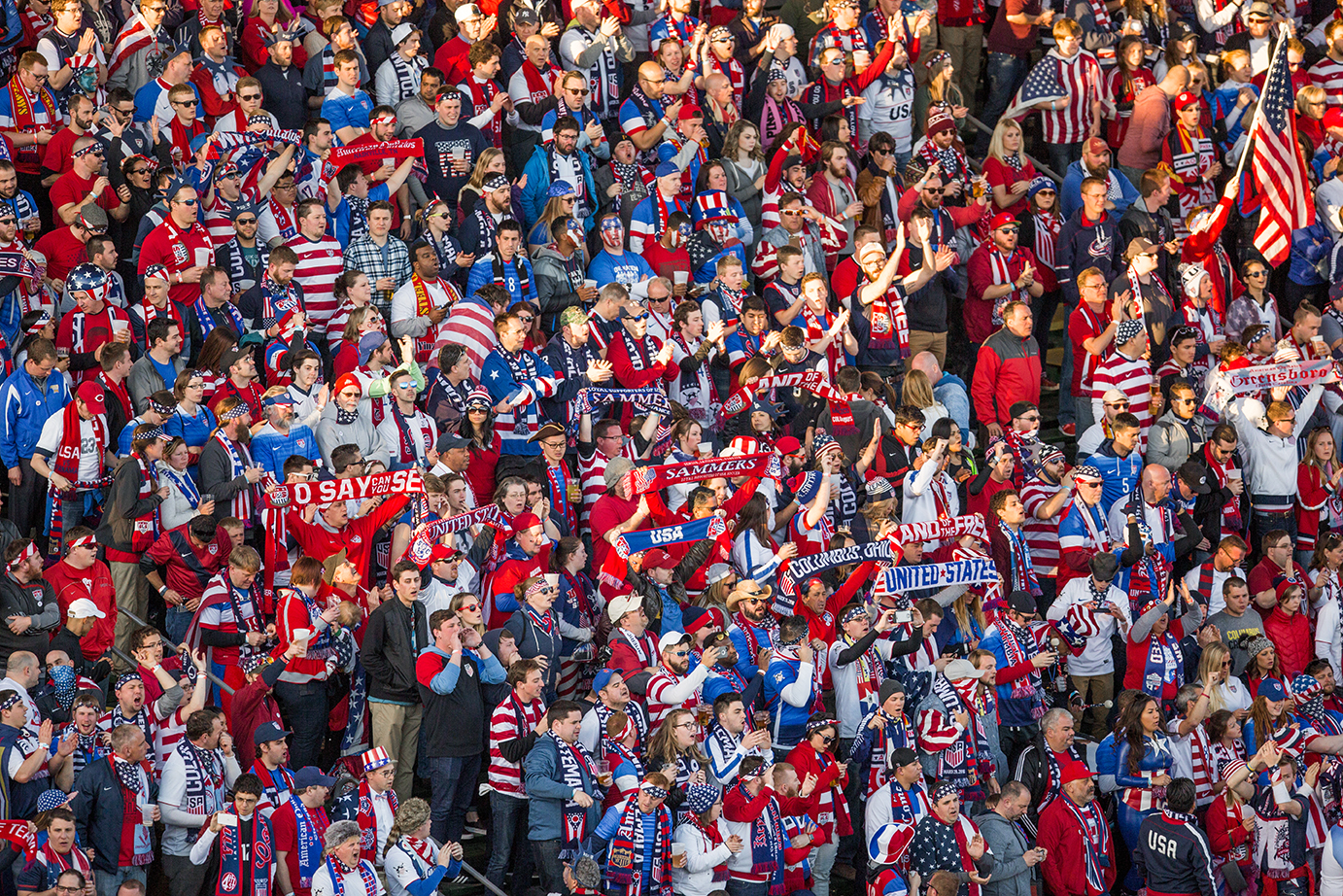 COLUMBUS, OHIO — A sea of red, white and blue filled most of MAPFRE Stadium where 20, 624 people came to watch the World Cup qualifying match between the U.S. Men's National Team and Guatemala Men's National Team in Columbus, Ohio on Mar. 29, 2016. The U.S. defeated Guatemala 4-0.