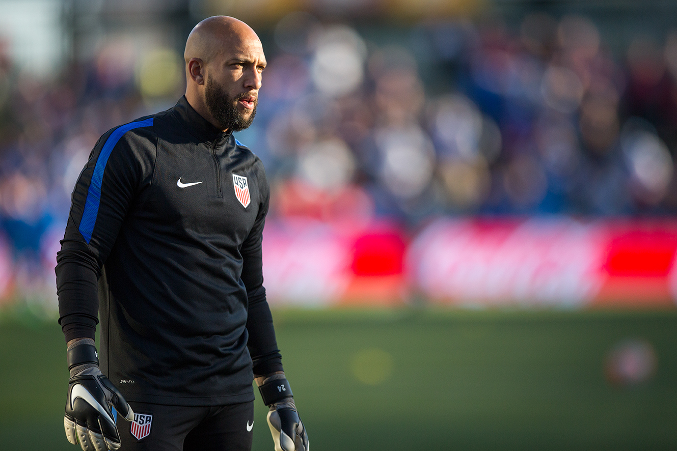 COLUMBUS, OHIO — U.S. Men's National Team goalkeeper, Tim Howard, warms up his teammates before before the game against the Guatemala Men's National Team at MAPFRE Stadium in Columbus, Ohio on Mar. 29, 2016. 20,624 people attended the game to watch the U.S. defeat Guatemala 4-0.