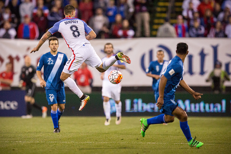 COLUMBUS, OHIO — U.S. forward, Clint Dempsey, attempts to redirect a loose ball to his teammates during the first half of the World Cup qualifying match between the U.S. Men's National Team and Guatemala Men's National Team at MAPFRE Stadium in Columbus, Ohio on Mar. 29, 2016. 20,624 people attended the game to watch the U.S. defeat Guatemala 4-0.