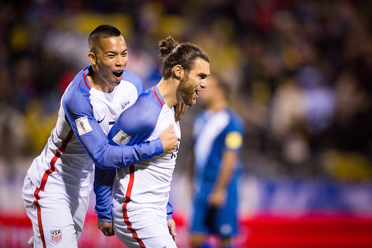 COLUMBUS, OHIO — Bobby Wood (left) celebrates with his teammate, Graham Zusi, following Zusi's goal in the 46th minute of play which put the U.S. Men's National Team up 3-0 against the Guatemala Men's National Team during the World Cup qualifying match at MAPFRE Stadium in Columbus, Ohio on Mar. 29, 2016. 20,624 people attended the game to watch the U.S. defeat Guatemala 4-0.