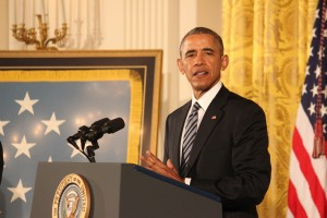 President Obama describes the rescue mission in Afghanistan that earned Navy SEAL Ed Byers a Medal of Honor. He spoke Monday at a White House ceremony. SHFWire photo by Luke Torrance