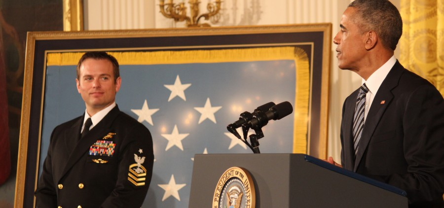 """President Obama says Monday that Medal of Honor recipient Senior Chief Ed Byers is """"defined by a deep sense of humility."""" Two other Medal of Honor recipients and many of Byers' relatives attended the ceremony in the White House East Room. SHFWire photo by Luke Torrance"""