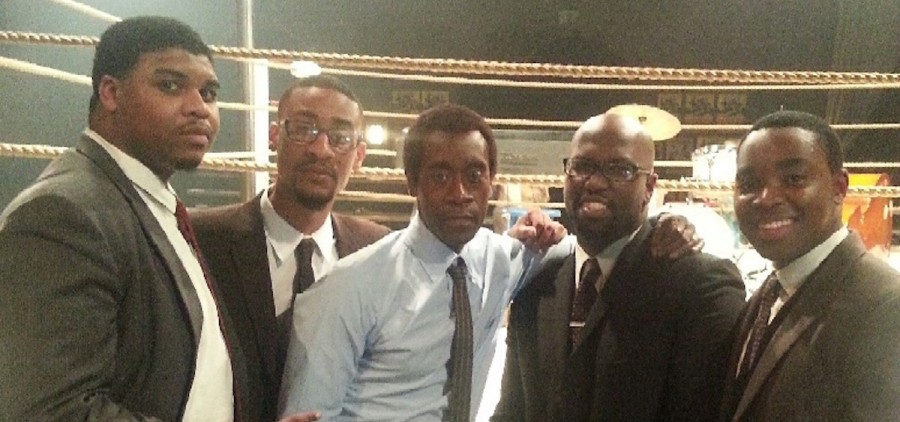 "Ohio University student Julian Howard (far right) stars alongside Don Cheadle (center) in the new Miles Davis biopic, ""Miles Ahead."" (photo provided)"