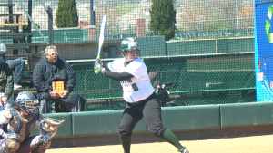 Morgan Geno hit her second career home run against Kent State