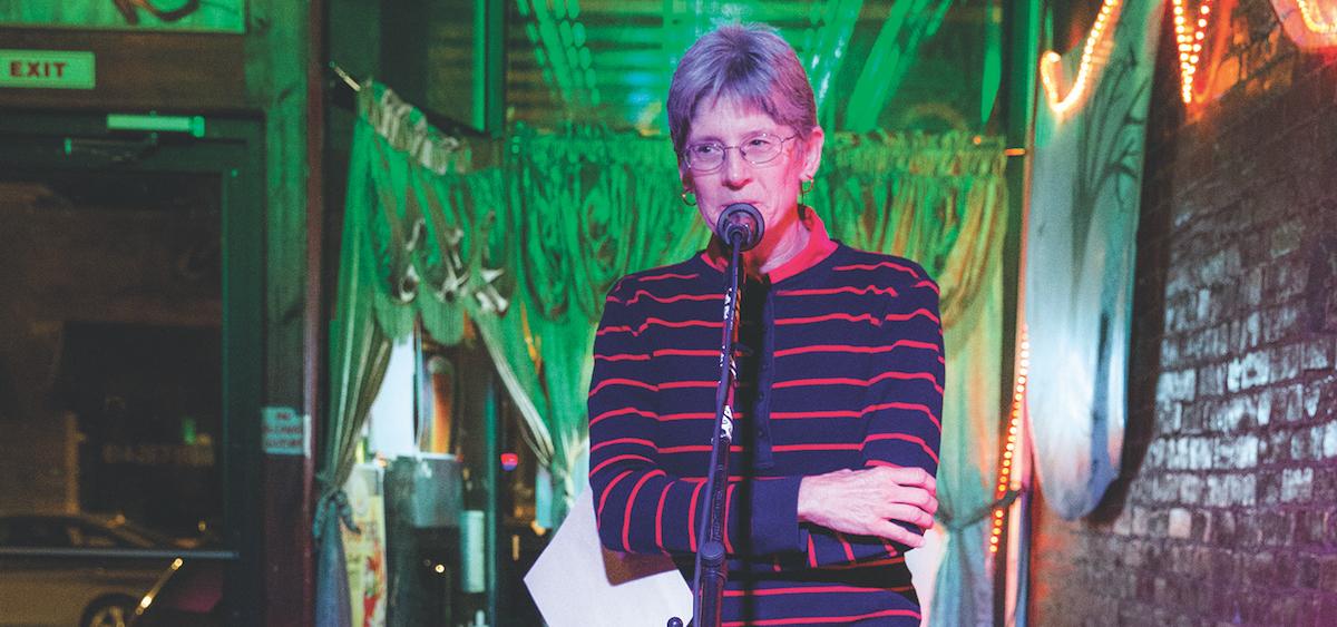 "Becky Code shares her essay ""Pockets"" during the Columbus Poetry Forum's ""Women Speak"" event. (Kari Gunter-Seymour)"