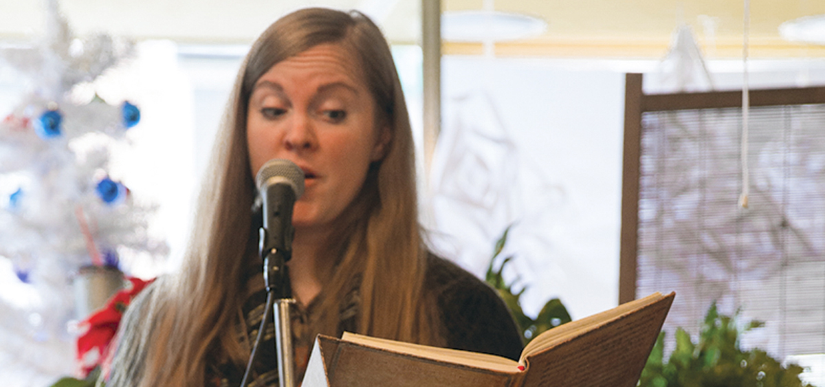 """Nena Park reads her poem """"First Mowing for a Second Summer,"""" at Sips Coffee House, Mt. Vernon, Ohio. (Kari Gunter-Seymour)"""