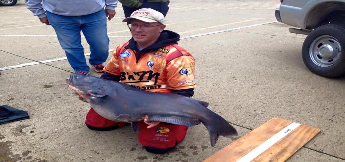 Mark Blauvelt caught this 59.74 lb catfish in the Ohio River. (photo courtesy Facebook)