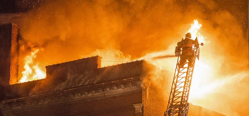 A photo taken from the fire that devastated 30 public Square next to Stuart's Opera House April of last year (WOUB file photo)