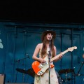 """Thursday act """"Angela Perley & the Howlin' Moons"""" performs on the Boxcar Stage at Nelsonville Music Festival."""