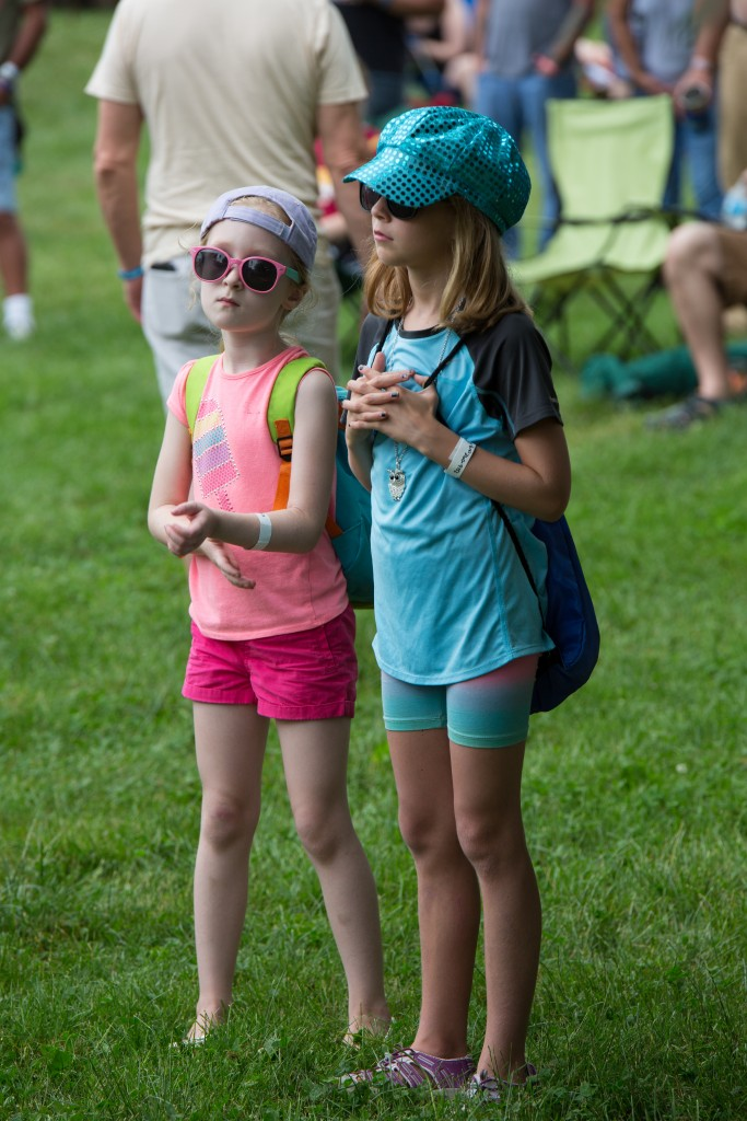 Young and not-so-young alike enjoyed last night's opening sets at the Nelsonville Music Festival. (WOUB/Jasmine Beaubien)
