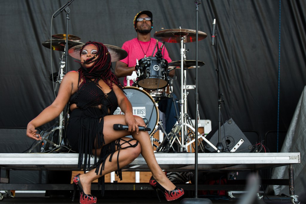 Check out those crazy heels: Mojoflo blew away the Main Stage audience Friday afternoon. (WOUB/Jasmine Beaubien)
