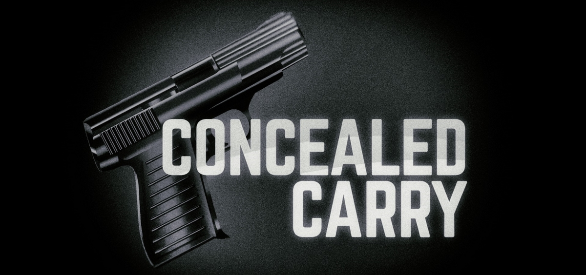 A concealed carry graphic with a handgun