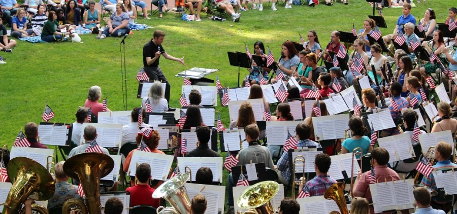 "The ""Communiversity Band"" performs Wednesday for the ""Under the Elms"" finale"