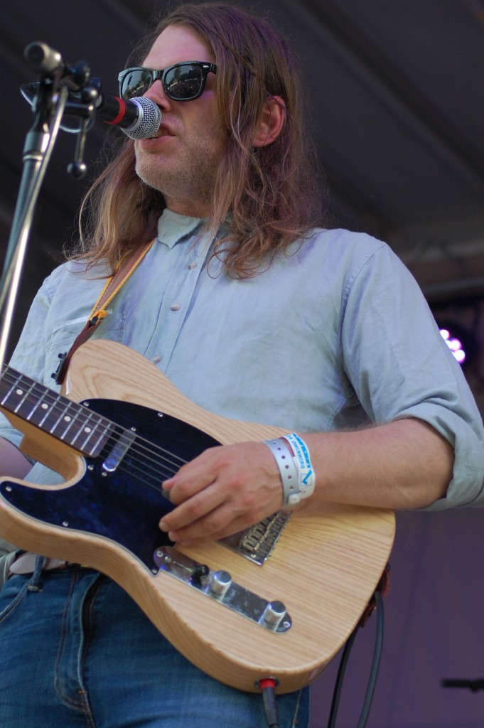 Eric D. Johnson (Fruit Bats) rocks out on the Porch Stage Friday night. Fruit Bats will also take to the Main Stage at 4 p.m. Saturday. (WOUB/ Shelby Coulter)