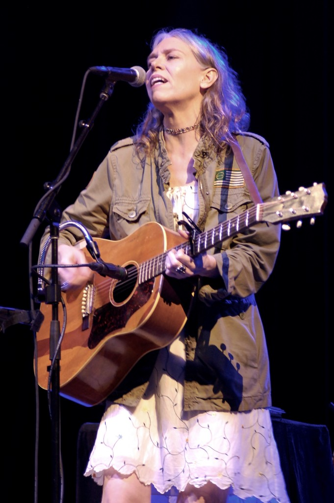 Gillian Welch closed out the Main Stage the third night of the 2016 Nelsonville Music Festival. (WOUB/Shelby Coulter)