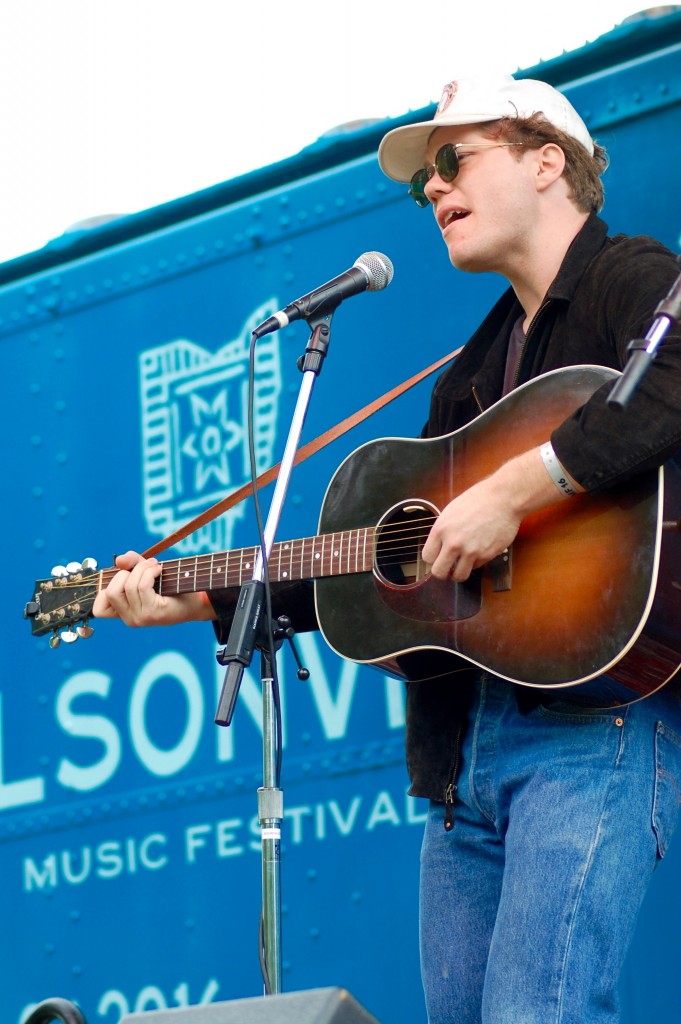 L.A.-based Korey Dane performed a set on the Boxcar Stage Sunday afternoon. (WOUB/Shelby Coulter)