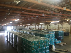 Water donated by Wal-Mart is stored at the Arts and Crafts Building at the Hocking County Fairgrounds