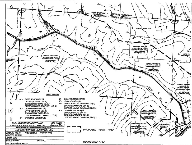 A map of the proposed project area included in the Public Road Consent agreement