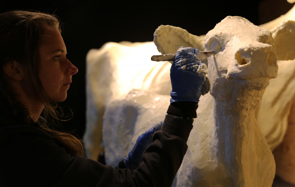 Tammy Buerk uses a small tool to shape the eyes on the butter calf. After several hours of shaping and smoothing the butter, sculptors chisel in the fine details last. (Submitted)