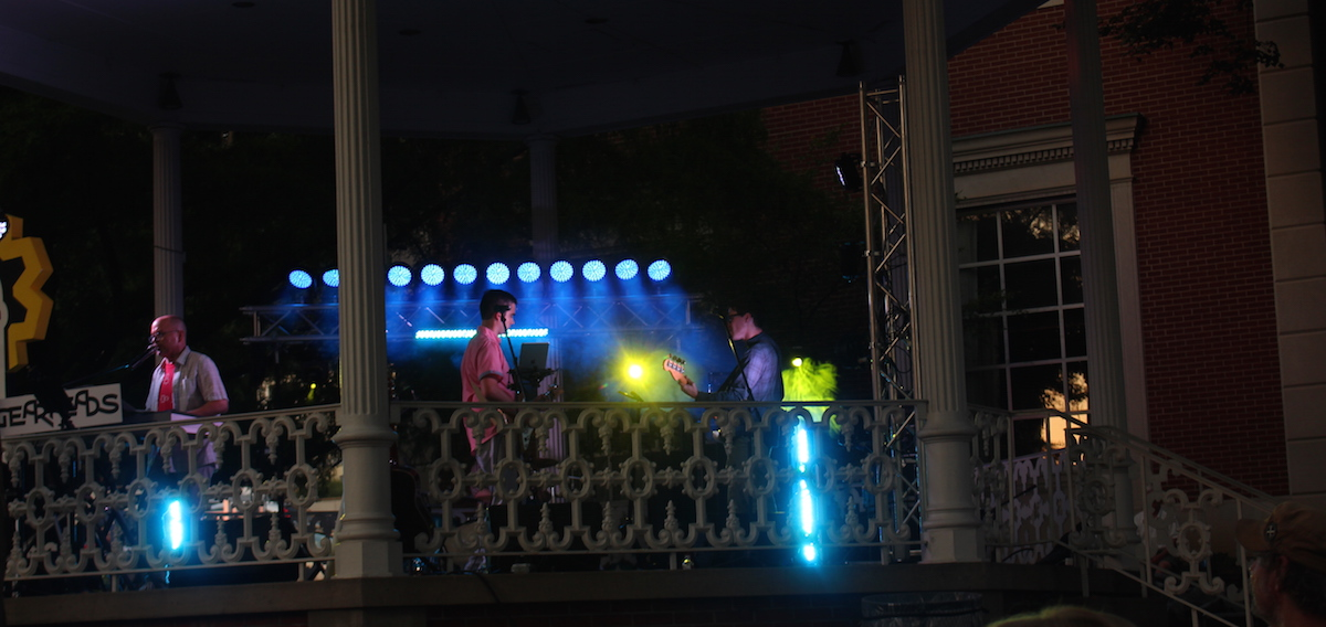 The crowd gathered for the Friday night Artwalk during the 2016 Lancaster Festival were treated to a variety of covers, ranging from those penned by John Mellencamp to Walk The Moon. (WOUB/Emily Votaw)