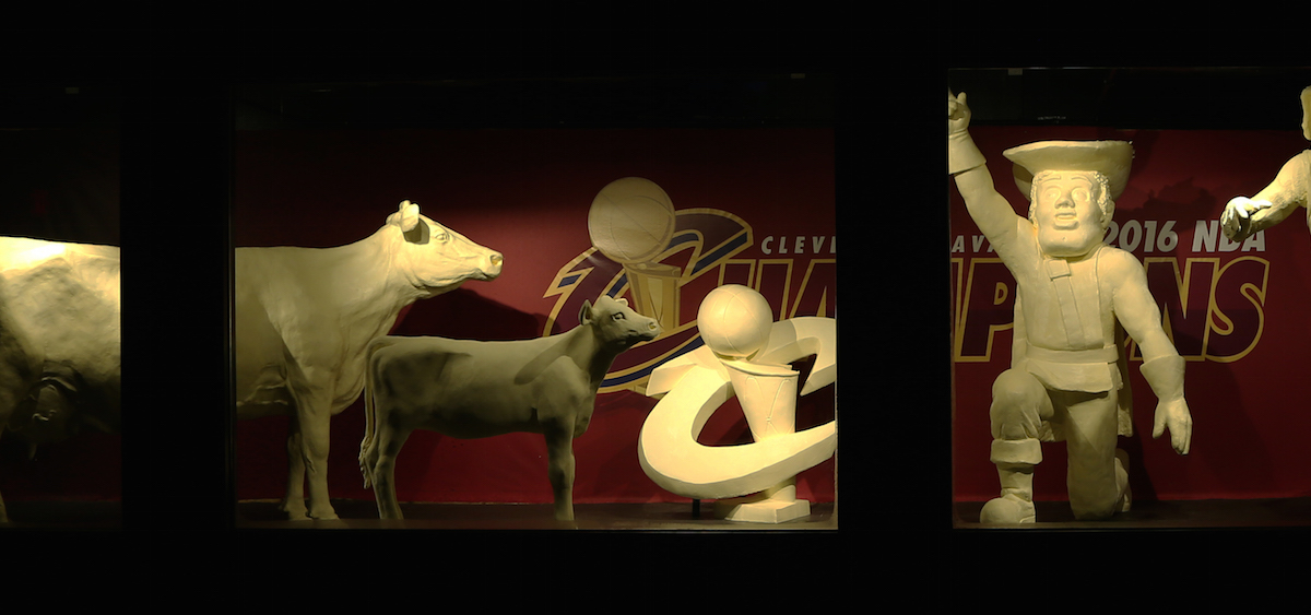 This year, the traditional butter cow and calf are accompanied by butter sculptures of Cleveland Cavaliers mascots Sir C.C. and Moondog, as well as a replica of the Larry O`Brien Championship Trophy. (Submitted)