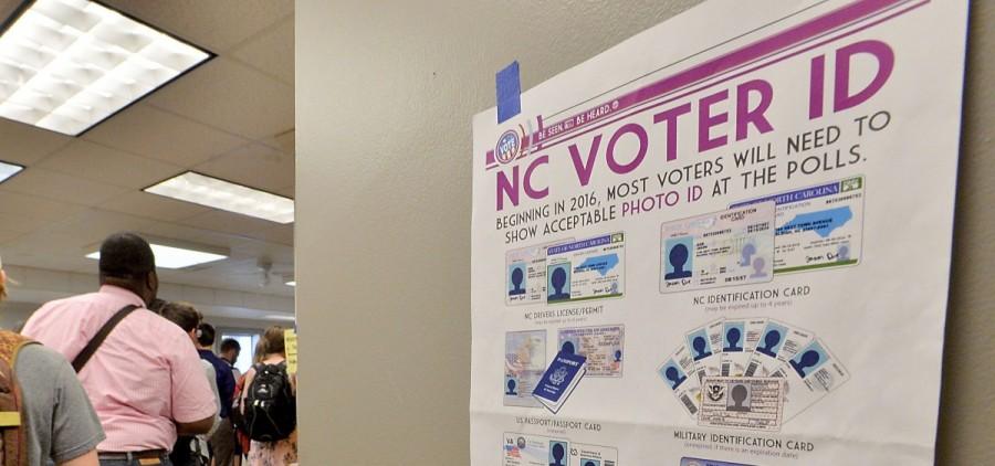 North Carolina State University students wait in line to vote in the primaries at Pullen Community Center in Raleigh, N.C., on March 15.