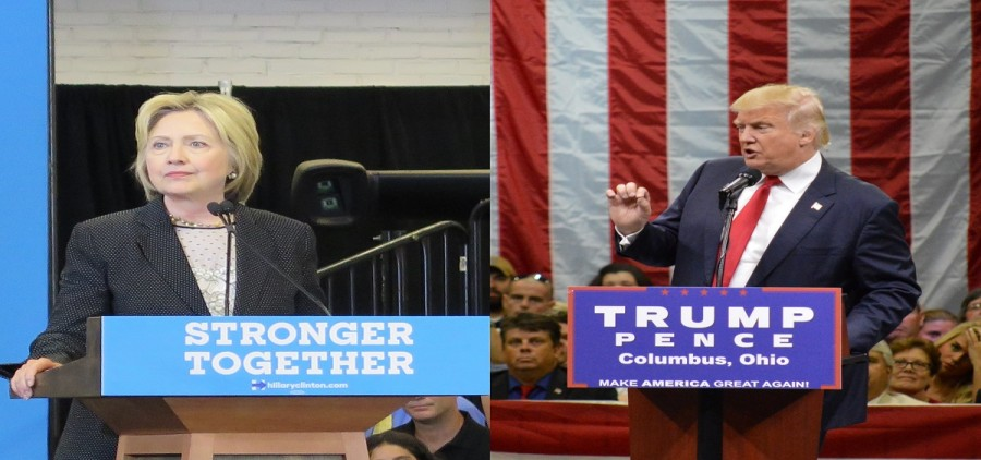 Clinton and Trump will have ads run this weekend. (Photo credit Karen Kasler/Statehouse News Bureau)