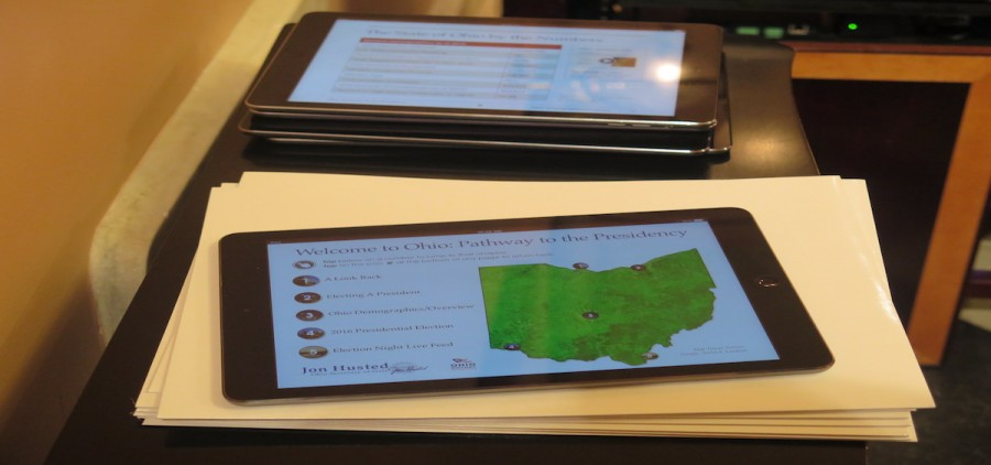 "An iPad displays the iBook ""Ohio: Pathway to the Presidency"" (Photo by Karen Kasler/Statehouse News Bureau)"