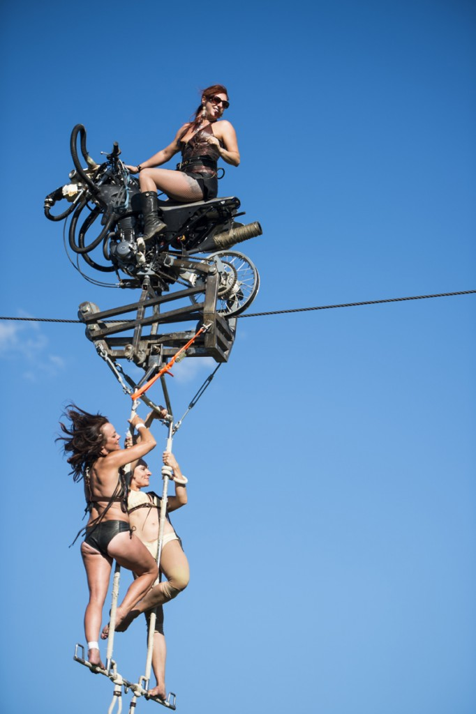 The only female motorcycle high-wire act in the world, Circus Una from Hershey, Pa., performs at the 2016 Easyriders Rodeo Tour in Chillicothe, Ohio. (Top) Sara (Right) Ekatrina (Left) Una.