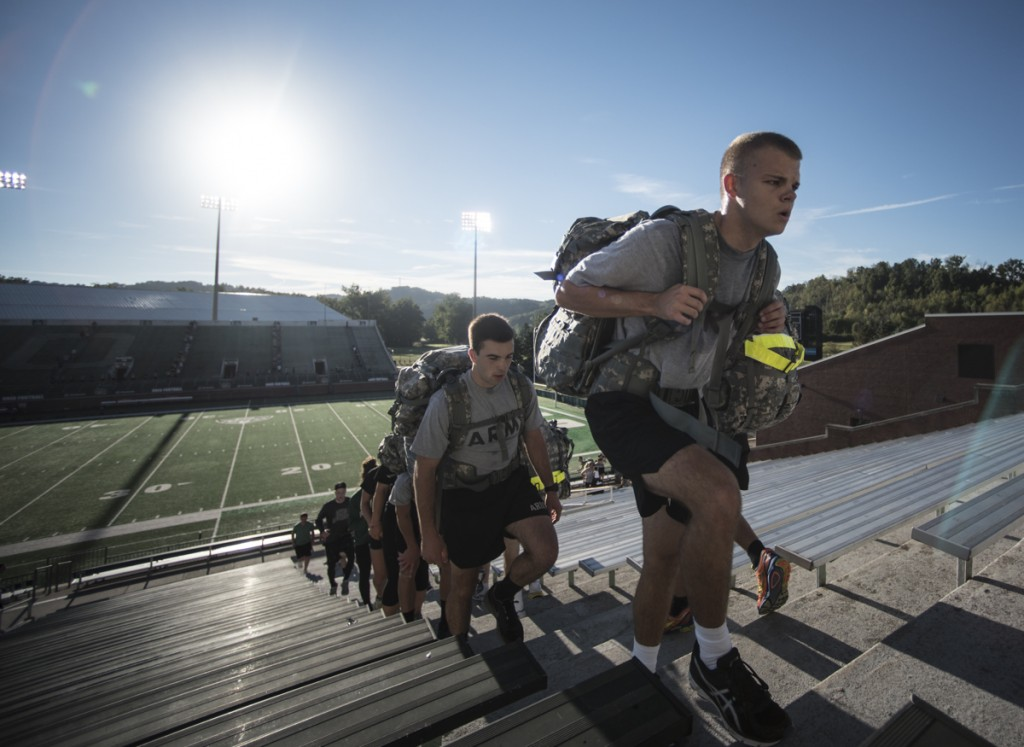 On the 15th anniversary of September 11, the Ohio University Army ROTC along with other members of the community run the steps of Peden Stadium to honor those affected by the tragic events of September 11, 2001. During the 8 a.m. hour, participants ran over 2000 steps to represent the stairs of one of the Twin Towers that fell in New York City. (Robert McGraw/WOUB)