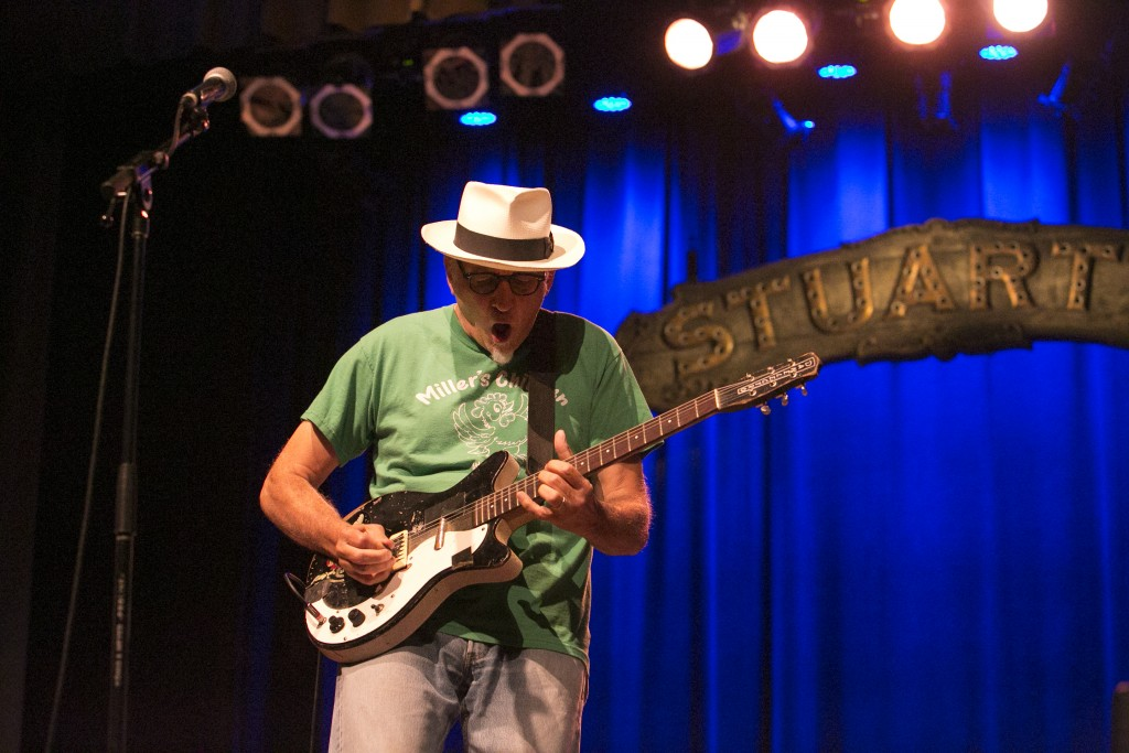 Rick Miller, guitarist for the rockabilly surf band Southern Culture on the Skids, performed at Stuart's Opera House Friday night. (WOUB/Jennifer Coombes)