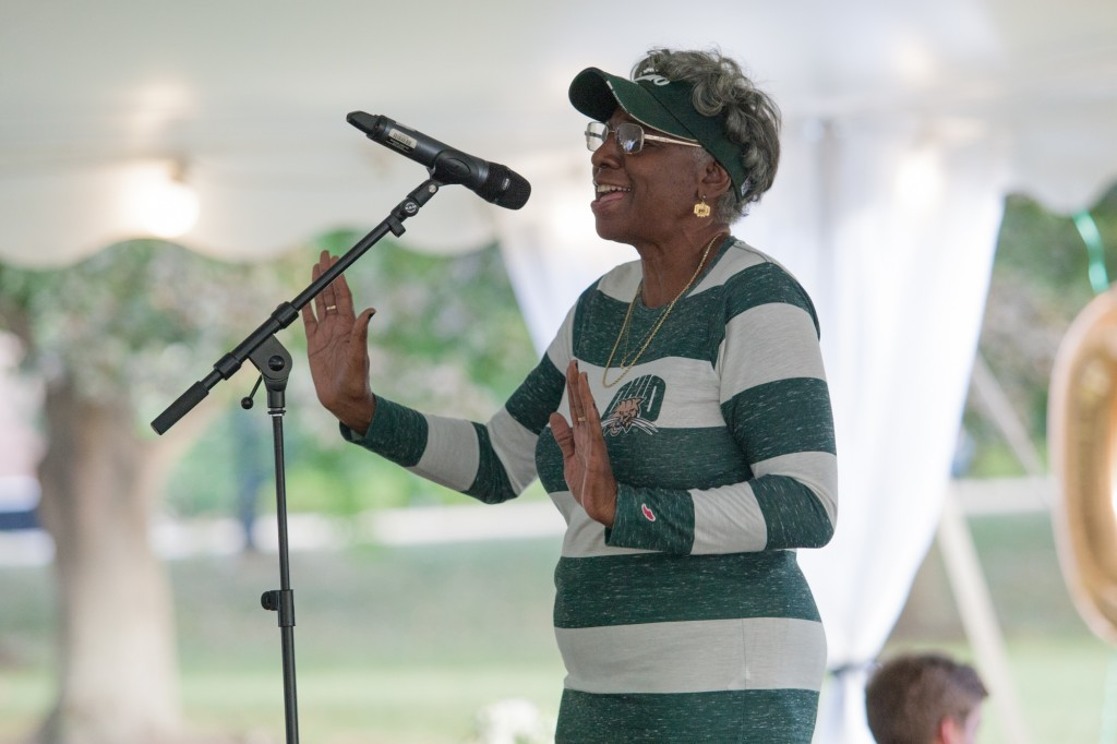 Connie Lawson-Davis speaks at the Black Alumni Reunion dinner at Ohio University on September 15, 2016.