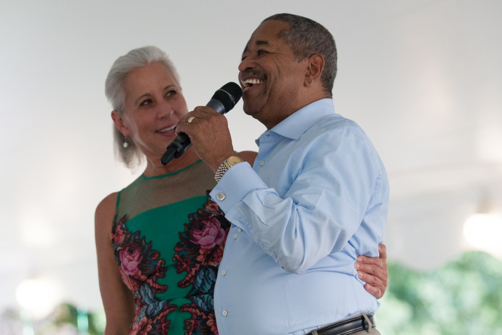 President McDavis introduces Jennifer Neubauer to the stage at the Black Alumni Reunion dinner at Ohio University on September 15, 2016.