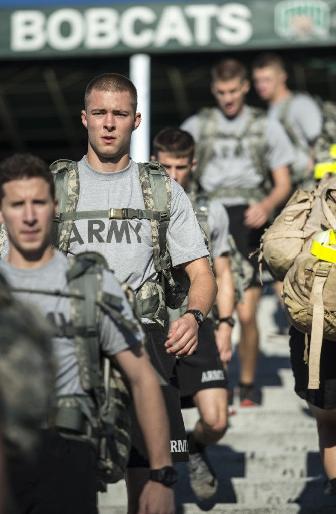 Army ROTC cadets runs the steps of Peden during the 2nd annual 9/11 Challenge (Robert McGraw/WOUB)