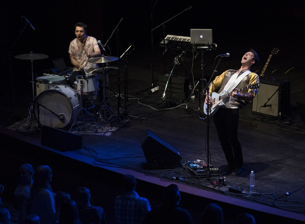 John Vaughn, right, and Ben Lapps, left, of the Cincinatti-based band Public, perform at the Templeton-Blackburn Alumni Memorial Auditorium in Athens on Sept. 22, 2016. Musical artist Daya performed after Public. (Marlene Sloss/WOUB).