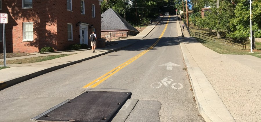 A double-line is shown on East Union Street, the hill commonly known as Jeff Hill. The City of Athens is changing the once pedestrian-only hill and now one-way street to a two-lane road after construction on the road is complete. Photo by Allison Hunter / WOUB News