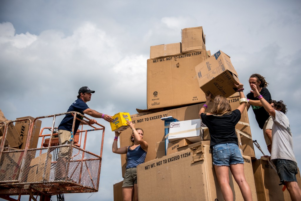 "At the the Ohio PawPaw Festival volunteers helped set two world records in building ""Chateau de Cardboard,"" the worlds largest cardboard structure. The activity was sponsored by Ohio University Campus Recycling. (Carolyn Rogers/WOUB)"
