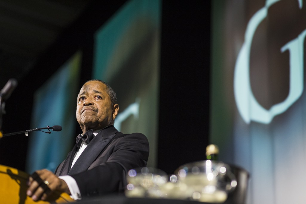 President Roderick J. McDavis delivers a speech after being presented the Diversity and Inclusion Medal of Excellence at the  Black Alumni Reunion Gala in the Baker Ballroom at Ohio University on September 16, 2016. (MICHAEL SWENSEN/WOUB)