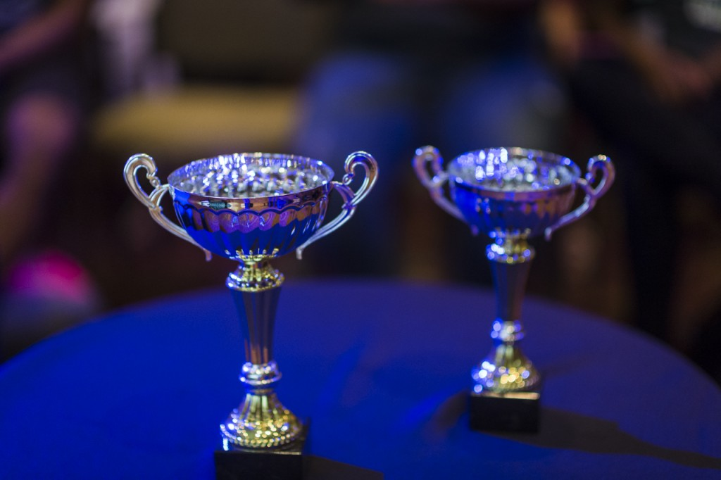 The trophies that are presented to the winners of the talent show at the Black Alumni Reunion are on display next to the judges' table in the Baker Ballroom at Ohio University on September 17 2016. (MICHAEL SWENSEN/WOUB)
