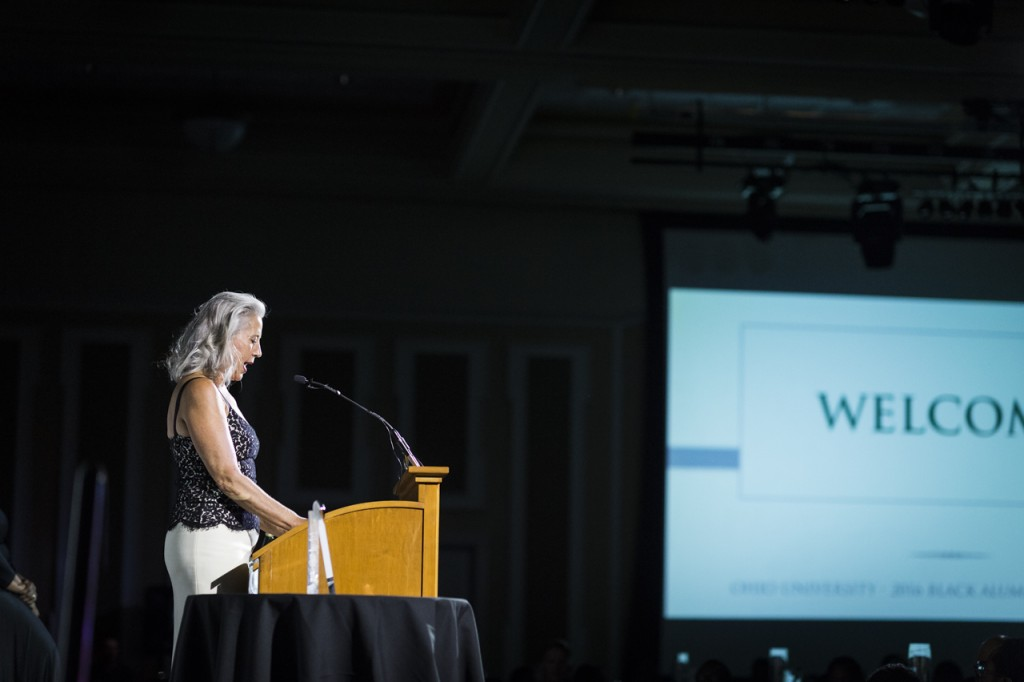 Jennifer Newbauer delivers a speech at the Black Alumni Reunion Gala in the Baker Ballroom at Ohio University on Septemeber 16, 2016. (MICHAEL SWENSEN/WOUB)