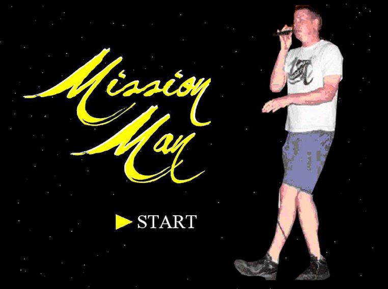 The opening screen for Gary Milholland's Mission Man video game, which is playable on this website. (Facebook.com/missionman)