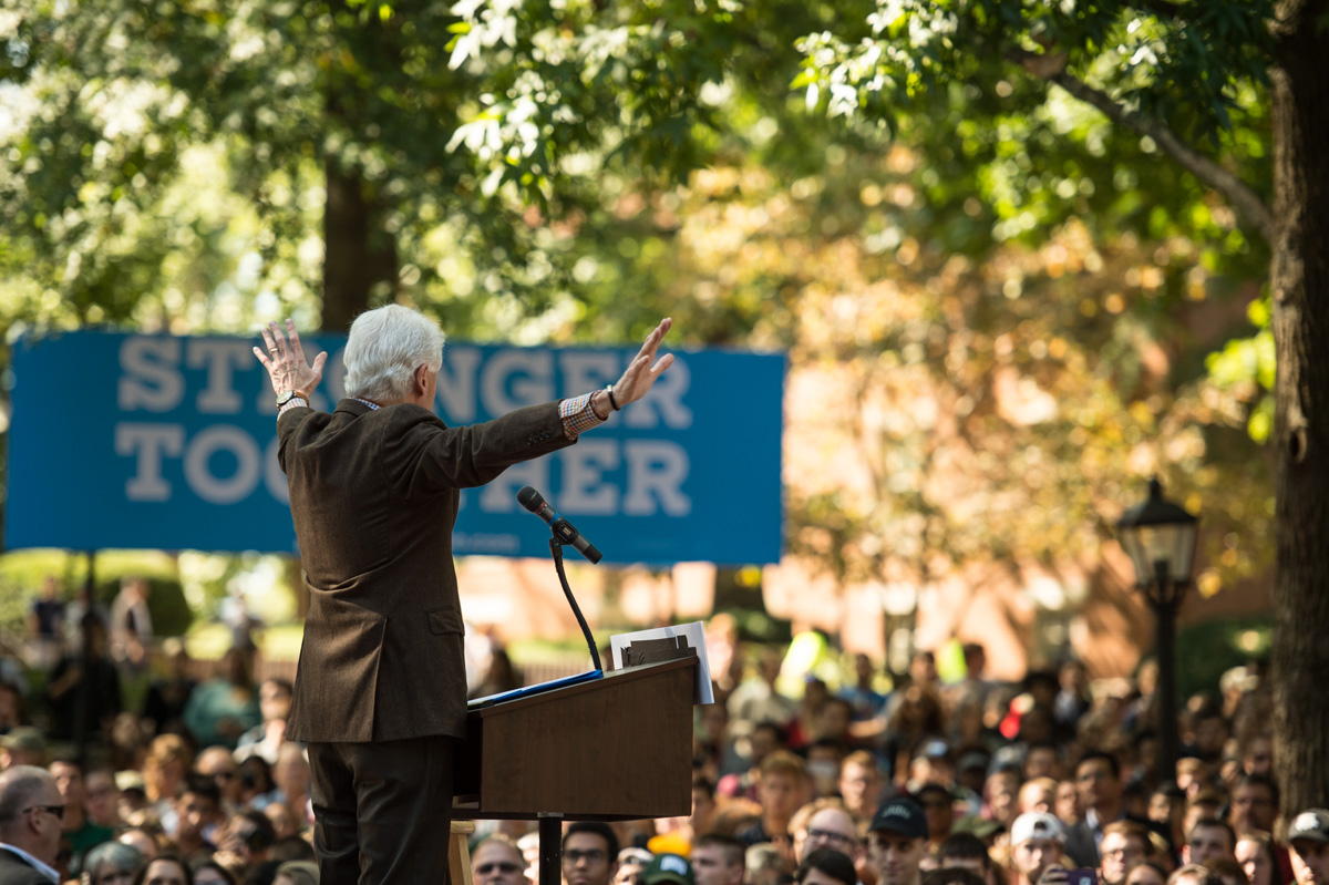 Bill Clinton ends his speech at Ohio University thanking the crowd for coming out and encouraging everyone to vote come November 8. (Robert McGraw/WOUB)