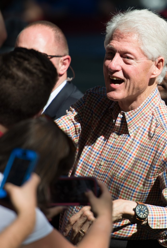 Bill Clinton talks to attendees as he leaves Ohio University. (Robert McGraw/WOUB)