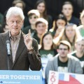 During a two-day bus tour in Ohio, former President Bill Clinton campaigns in Athens on College Green for his wife Secretary of State Hillary Clinton on Oct. 4. (Robert McGraw/WOUB)
