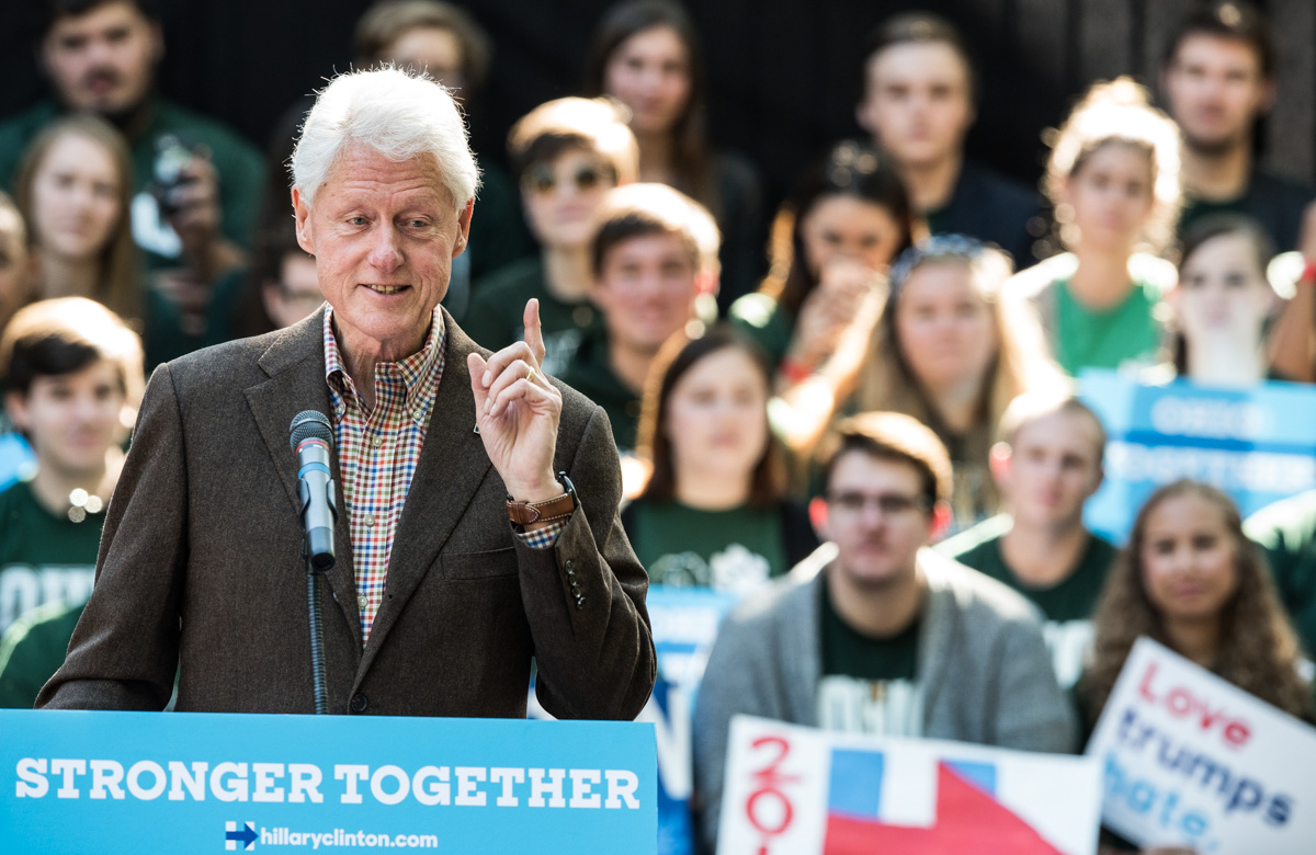 During a two-day bus tour in Ohio, former President Bill Clinton campaigns at the College Green for his wife Secretary of State Hillary Clinton on October 4, 2016, at Ohio University. (Robert McGraw/WOUB)