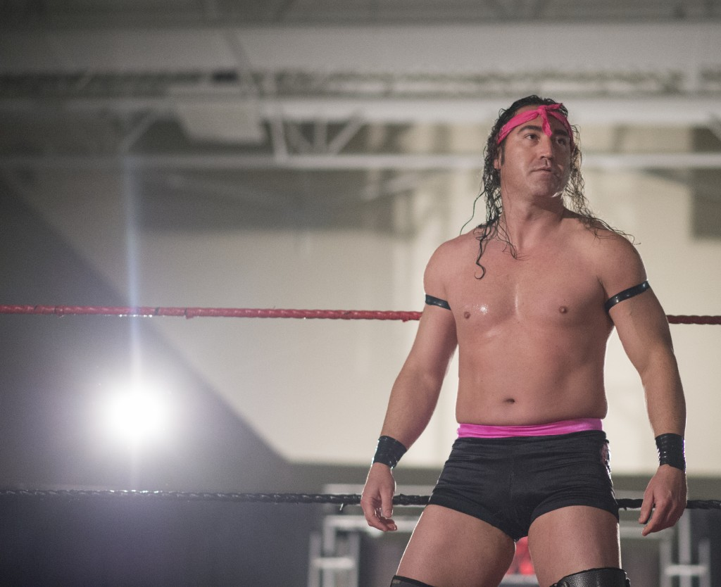 """Scot Isaac, """"Trik Nasty,"""" enters the ring in the student center of Hocking College during the XWE Pro Wrestling event on Friday, October 21, 2016 in Nelsonville, Ohio. Isaac has been performing since 2000 with injuries in between, such as three knee surgeries, plastic surgery and a fractured skull. (Kelsey Brunner/WOUB)"""